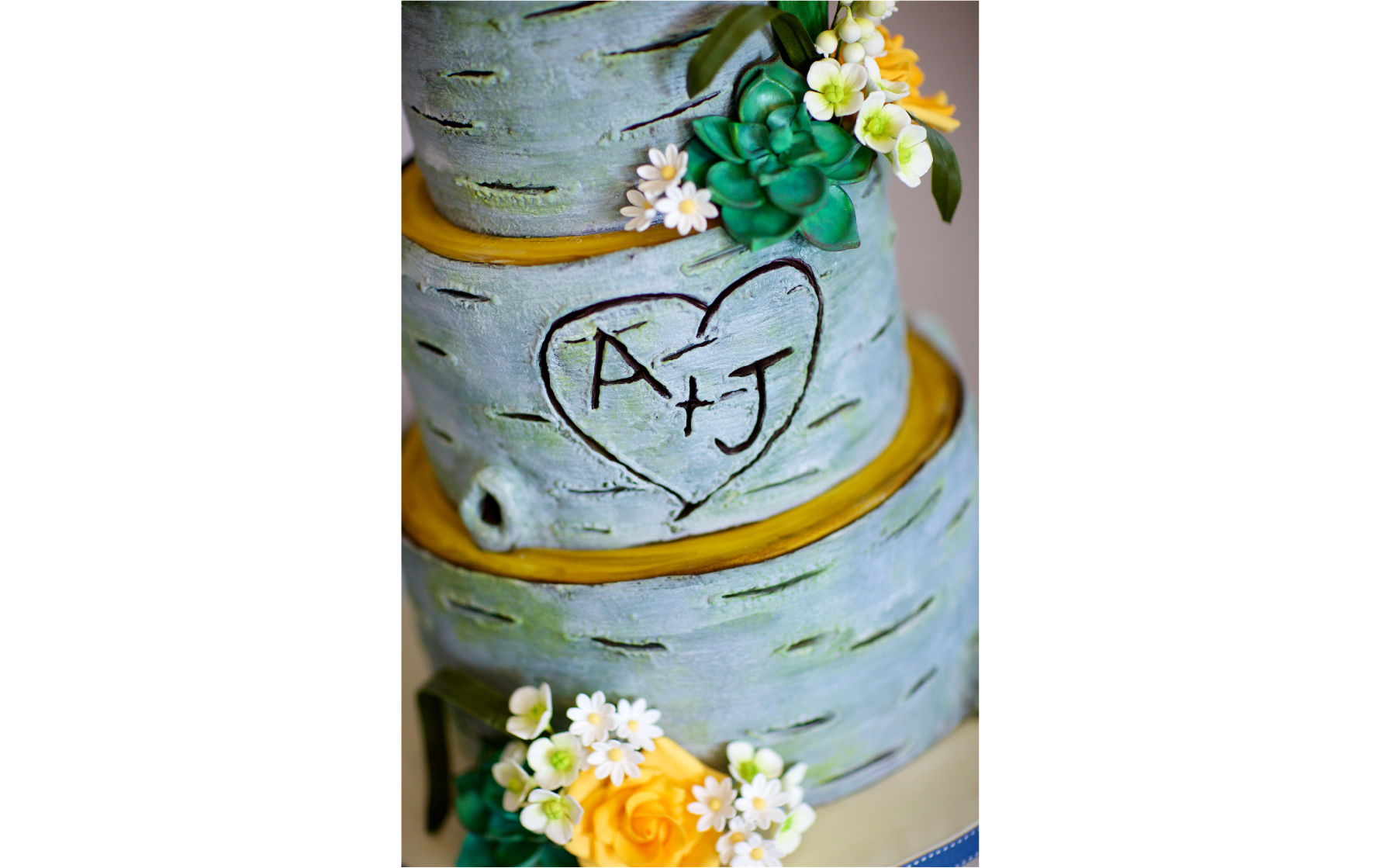 Anna and Jack's Woodland and Floral Wedding Cake