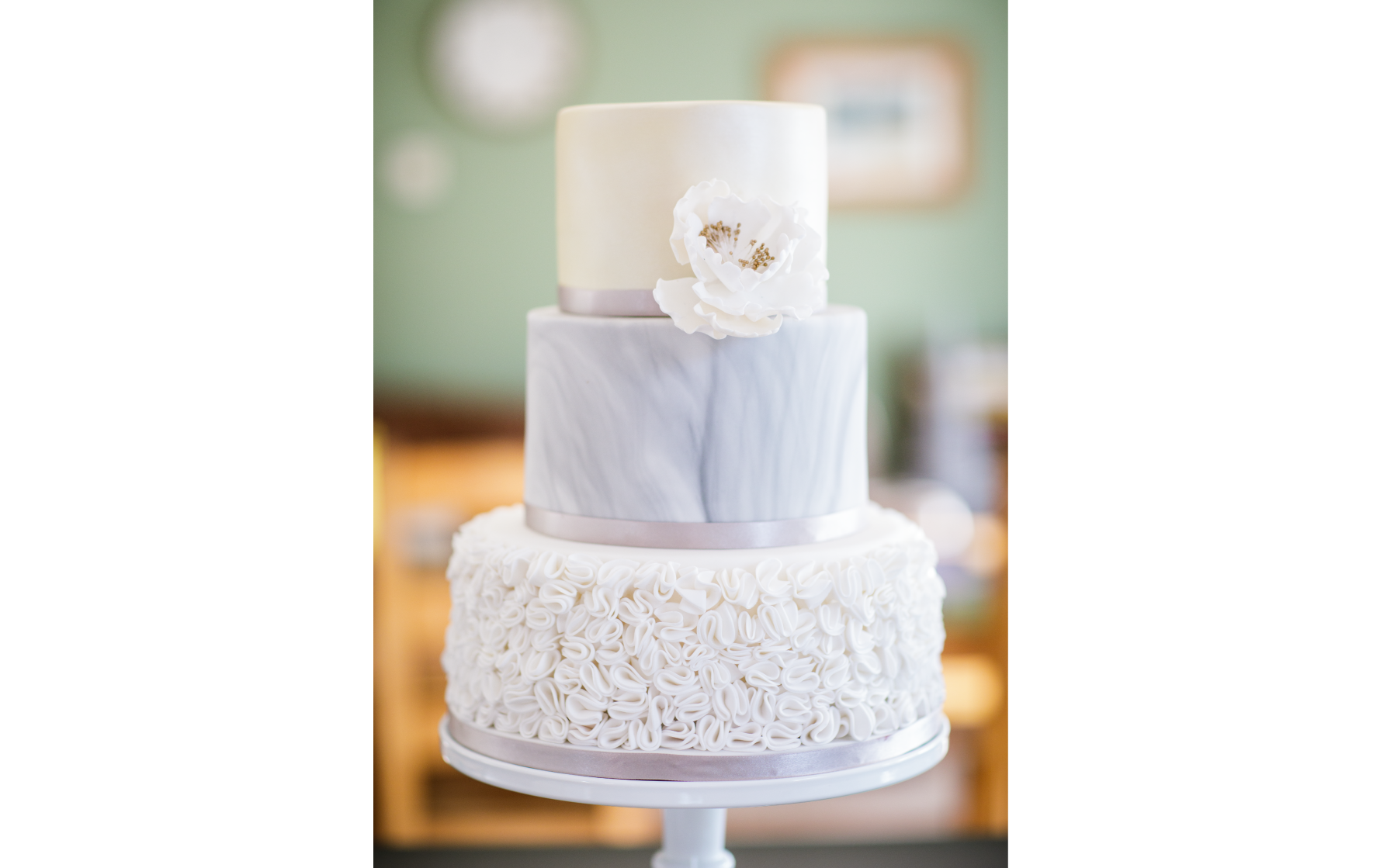 Marble and Ruffles Wedding Cake - Pat a Cakes Jersey