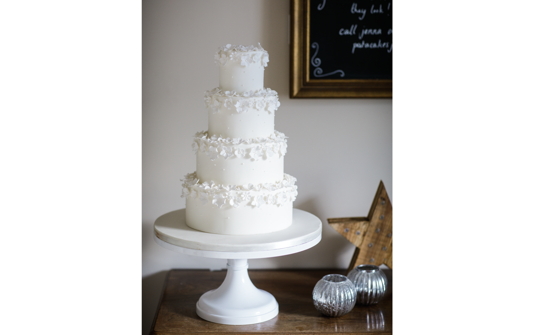 White Sugar Flower Wedding Cake - Pat a Cakes Jersey