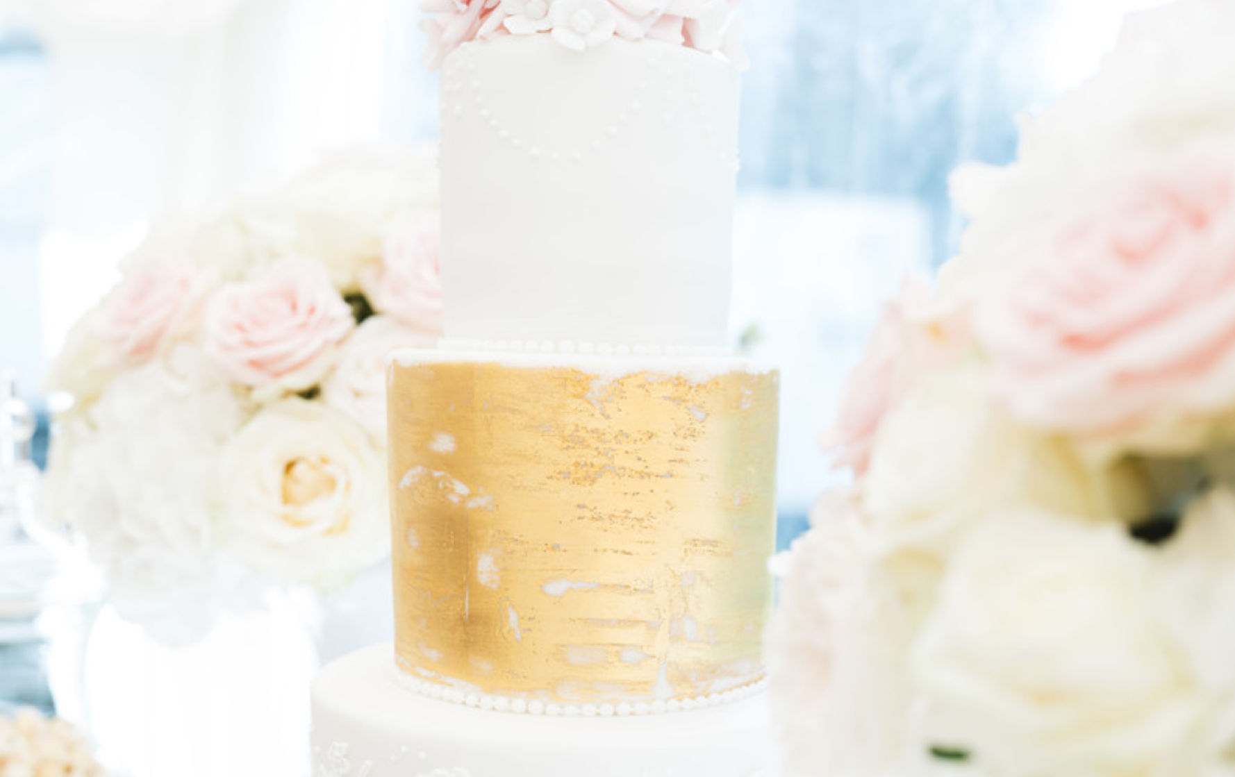 Fiona and Chris' Gold and Flower Wedding Cake - Pat a Cakes Jersey