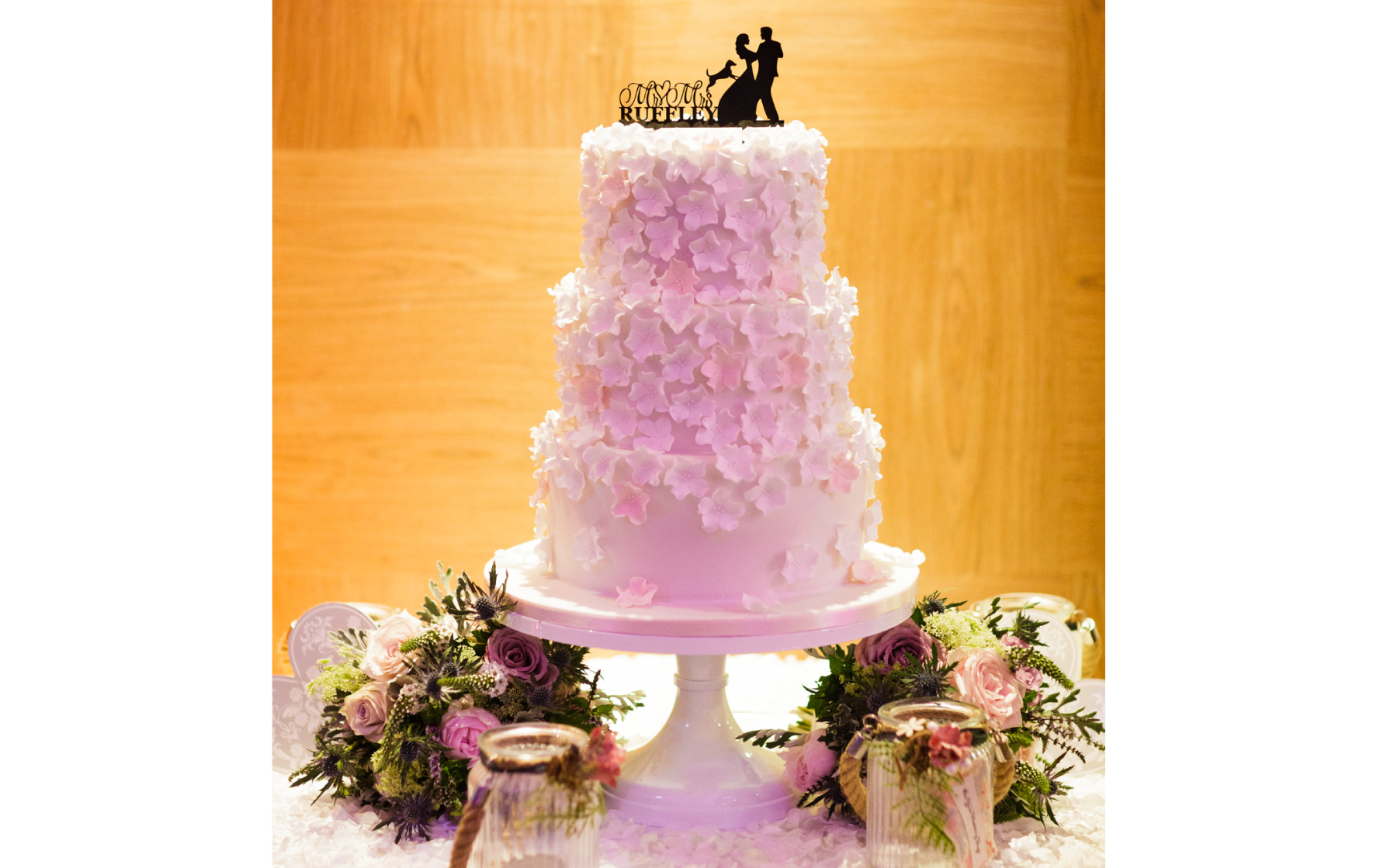 Jen and Steve's White Sugar Flower Wedding Cake - Pat a Cakes Jersey