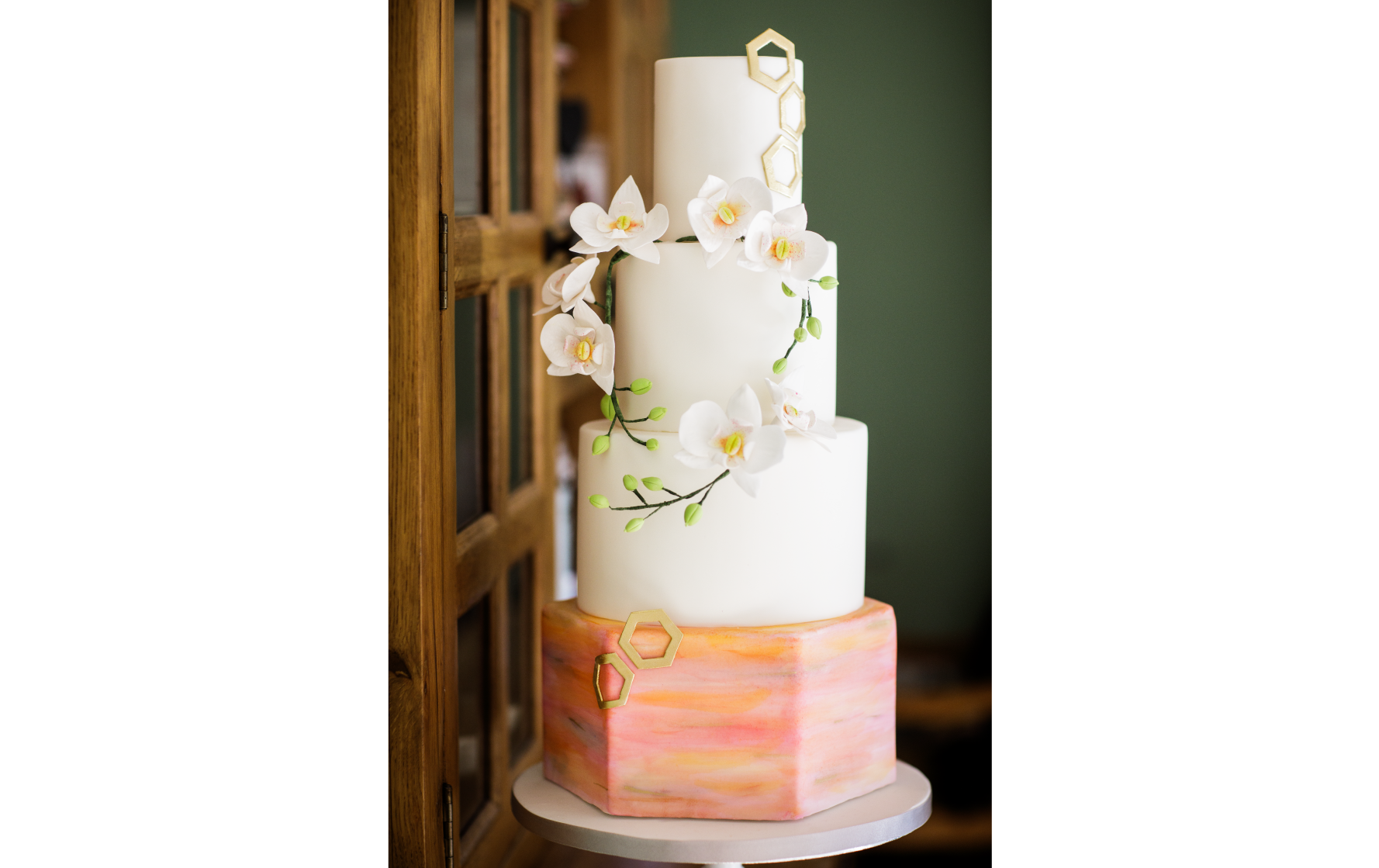 Orchid and Watercolour and Hexagon Wedding Cake - Pat a Cakes