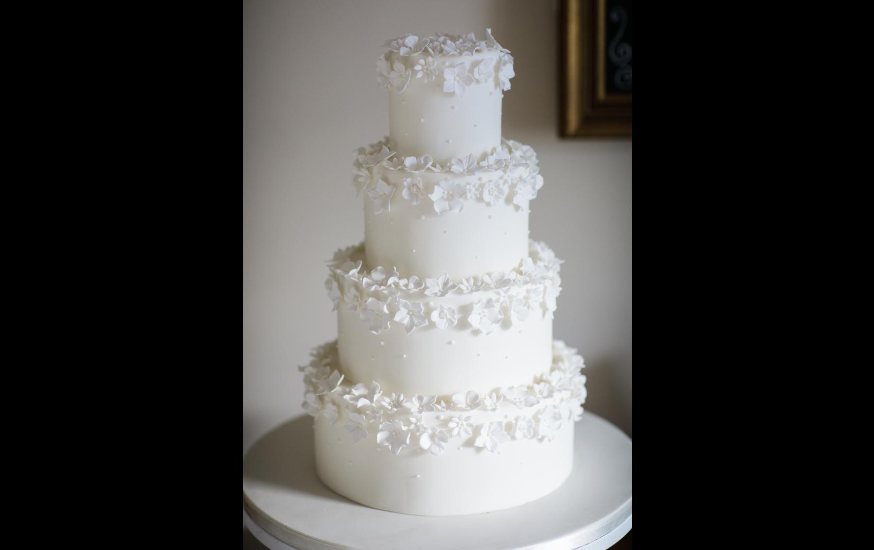 White Sugar Flower Wedding Cake - Pat a Cakes Jersey